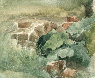 David Cox watercolour sketch burdock and drainage tunnel.