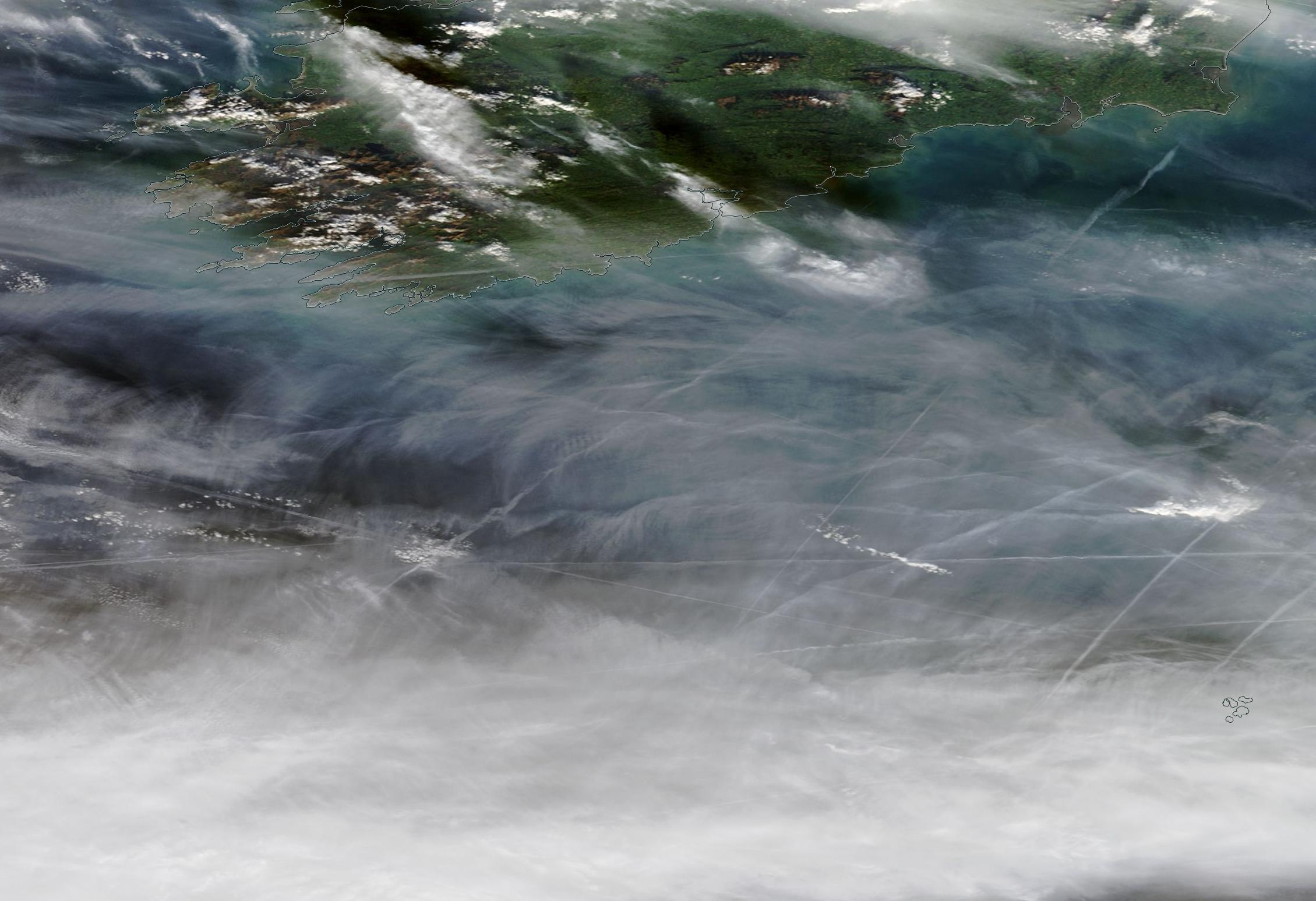 Cork, Waterford, southern Ireland chemtrail geoengineering NASA Worldview 22nd Dec 2018 https://go.nasa.gov/33Dvh19