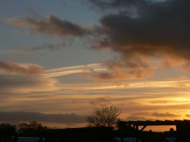 chemtrail at sunset UK