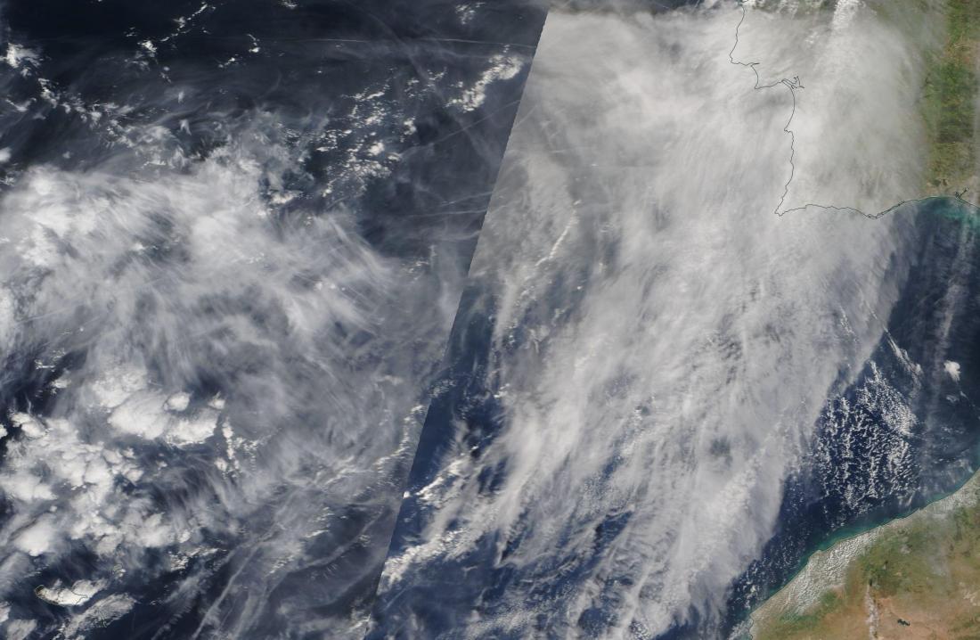 chemtrails Trafalgar ie Atlantic west of Spain worldview 27th Feb 2019