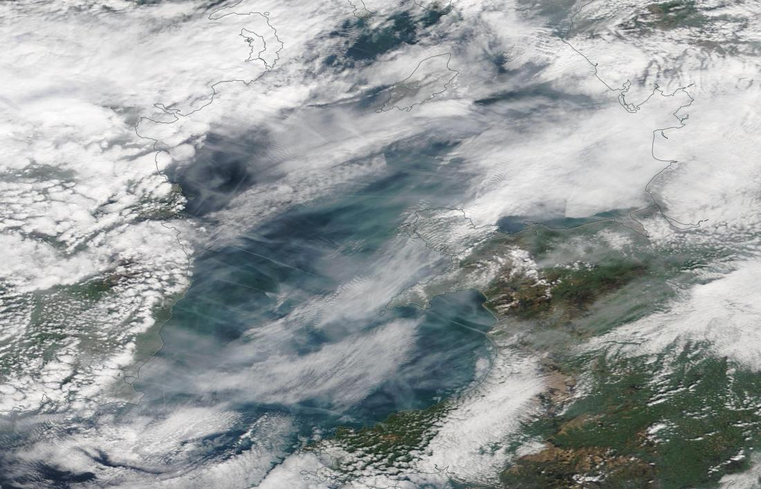 Chemtrails Irish Sea 30th March 2019 geo-engineering. https://go.nasa.gov/2FEoCcE