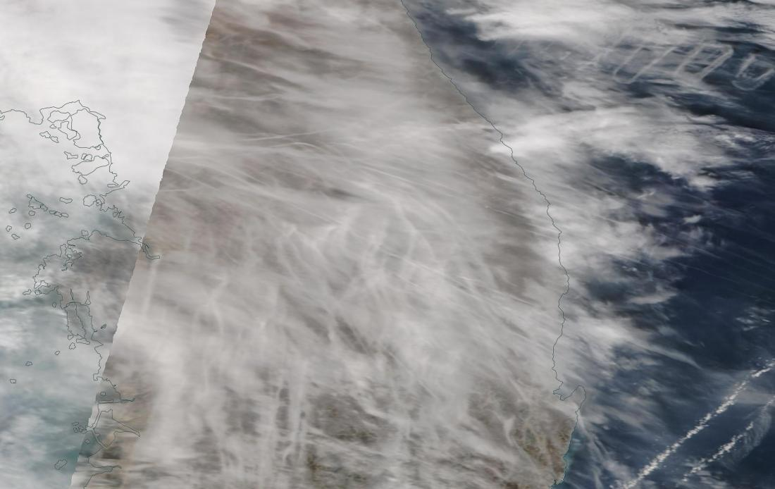 Look closely ... chemtrails South Korea 9th March 2019 ... https://go.nasa.gov/2J1SUuK