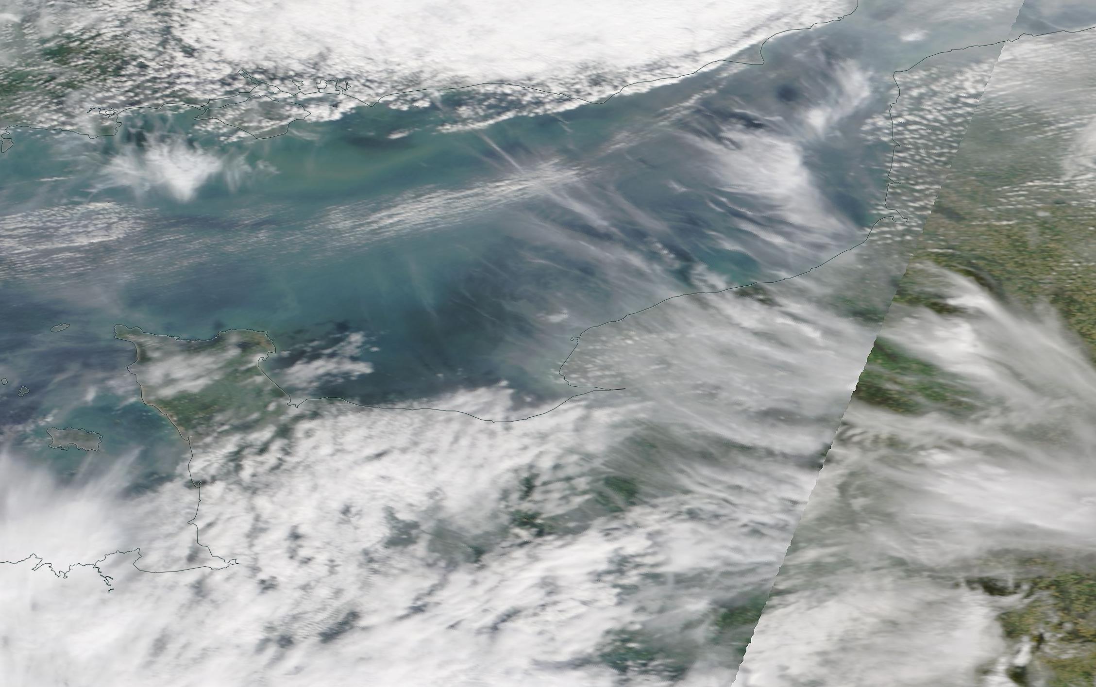 chemtrail geoengineering English Channel Brittany 6 April 2019 ... https://go.nasa.gov/2UAhXtn