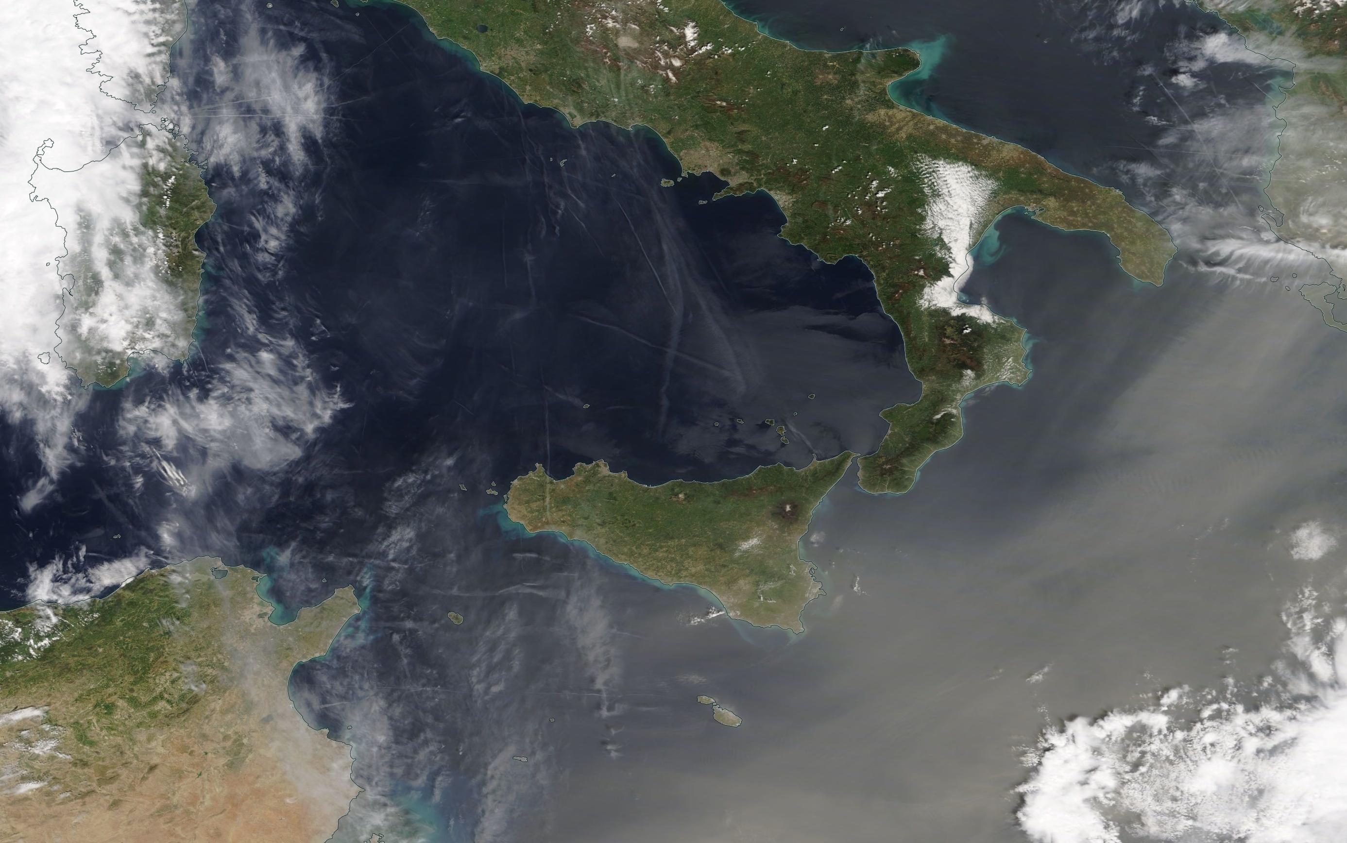 chemtrails Tyrrhenian Sea 24 April 2019 .... https://go.nasa.gov/2UZgpKi ... note with even slight mag we can see lots of chemtrail