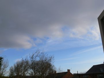 chemtrails UK geoengineering 1st April 2019 08:06 BST note the extent of the spreading haze, now we have the dark grey bank of aluminized cloued arriving from the west. note also many chemtrails out to sea, to the east.