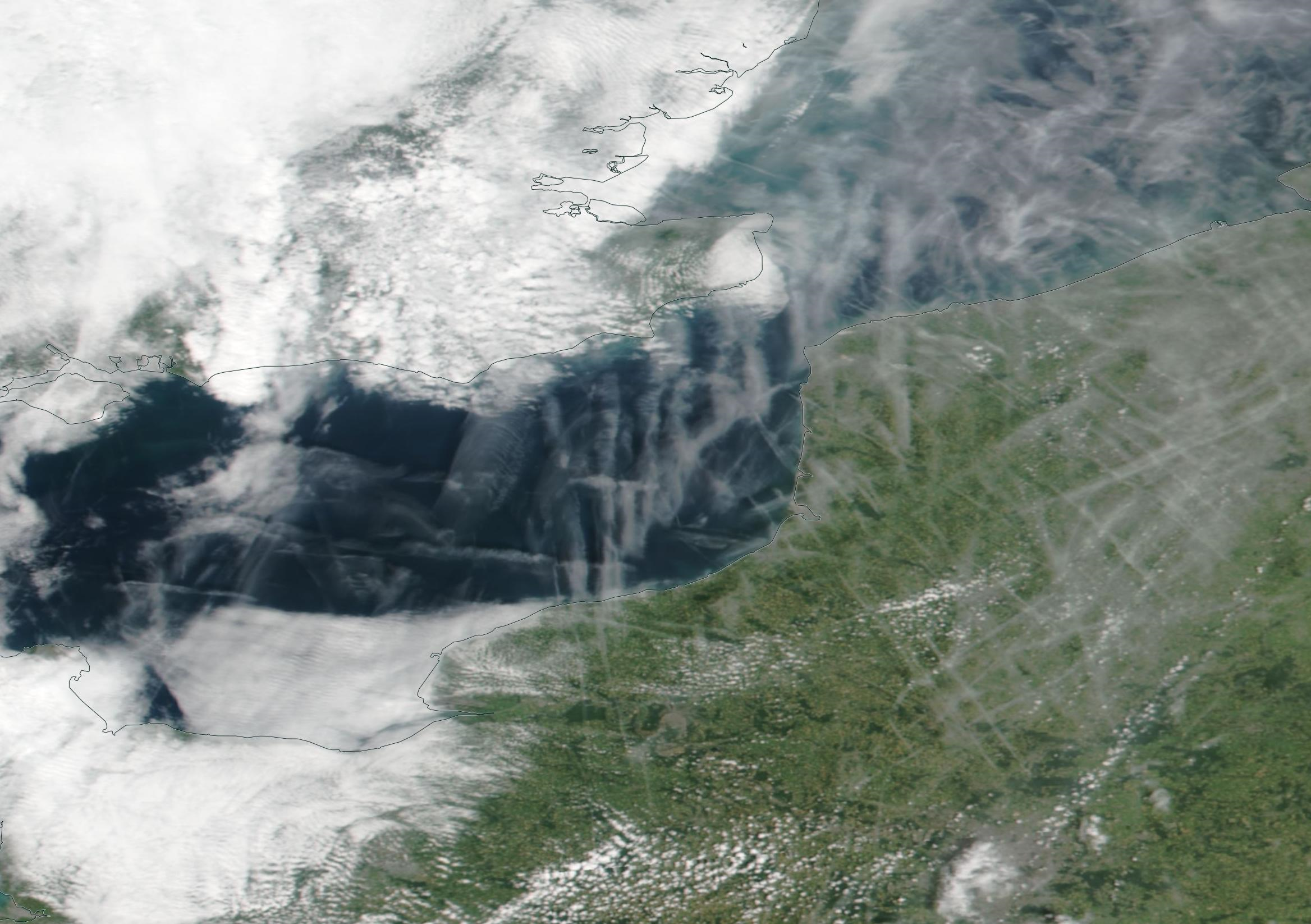Chemtrail geoengineering English Channel, Le Havre, Calais, Tuesday 25th June 2019. https://go.nasa.gov/2WZjG8F