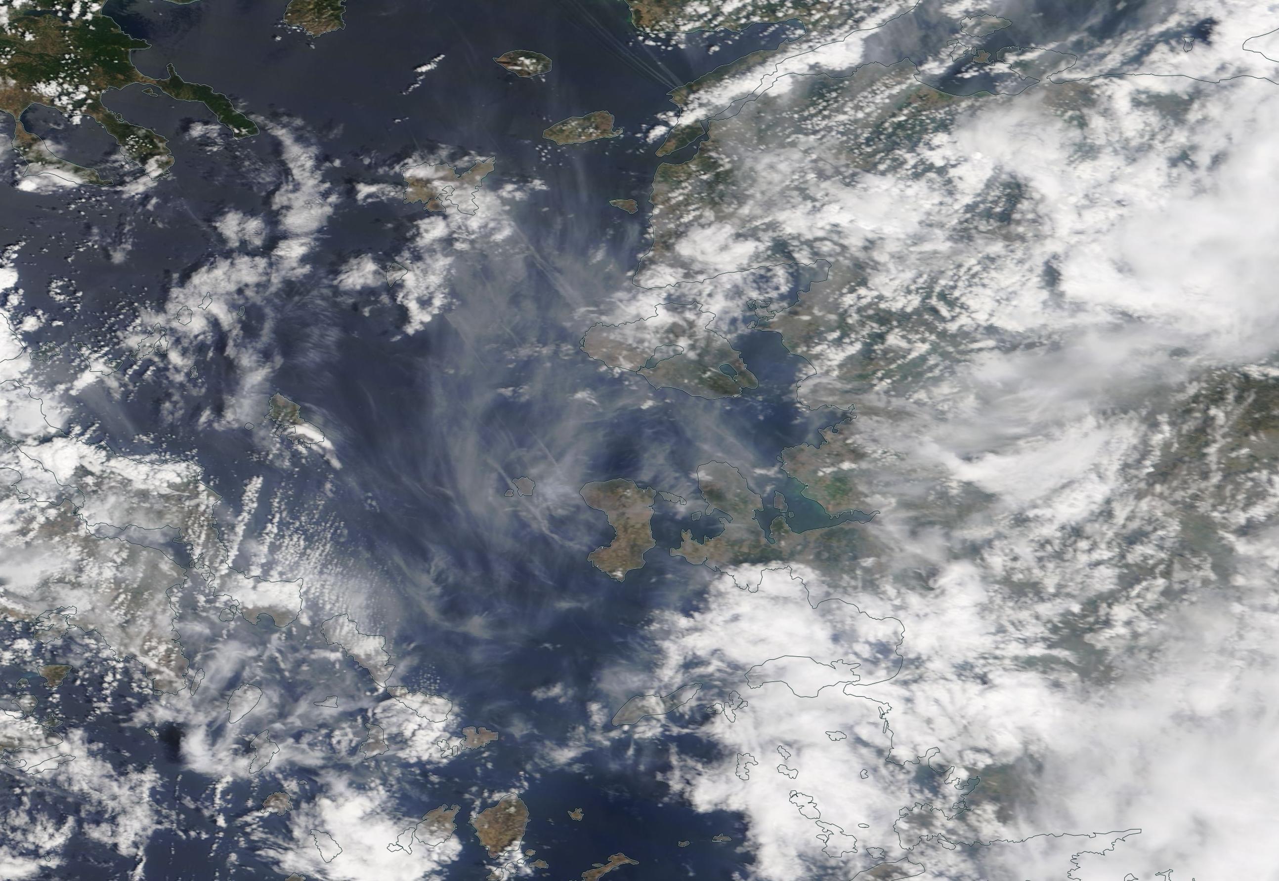 Greek Islands, Aegean chemtrails geoengineering Wednesday 17 July 2019