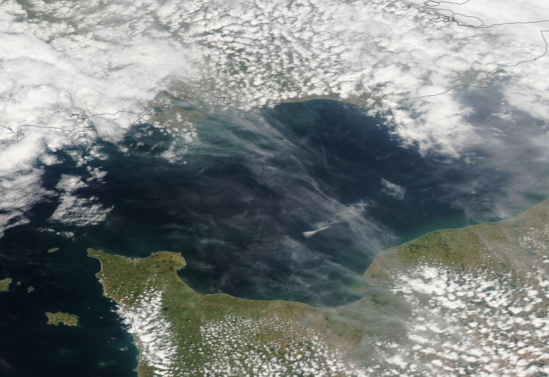 Le Havre, Dieppe, English Channel chemtrail geoengineering 13 July 2019. https://go.nasa.gov/2JKyYcM