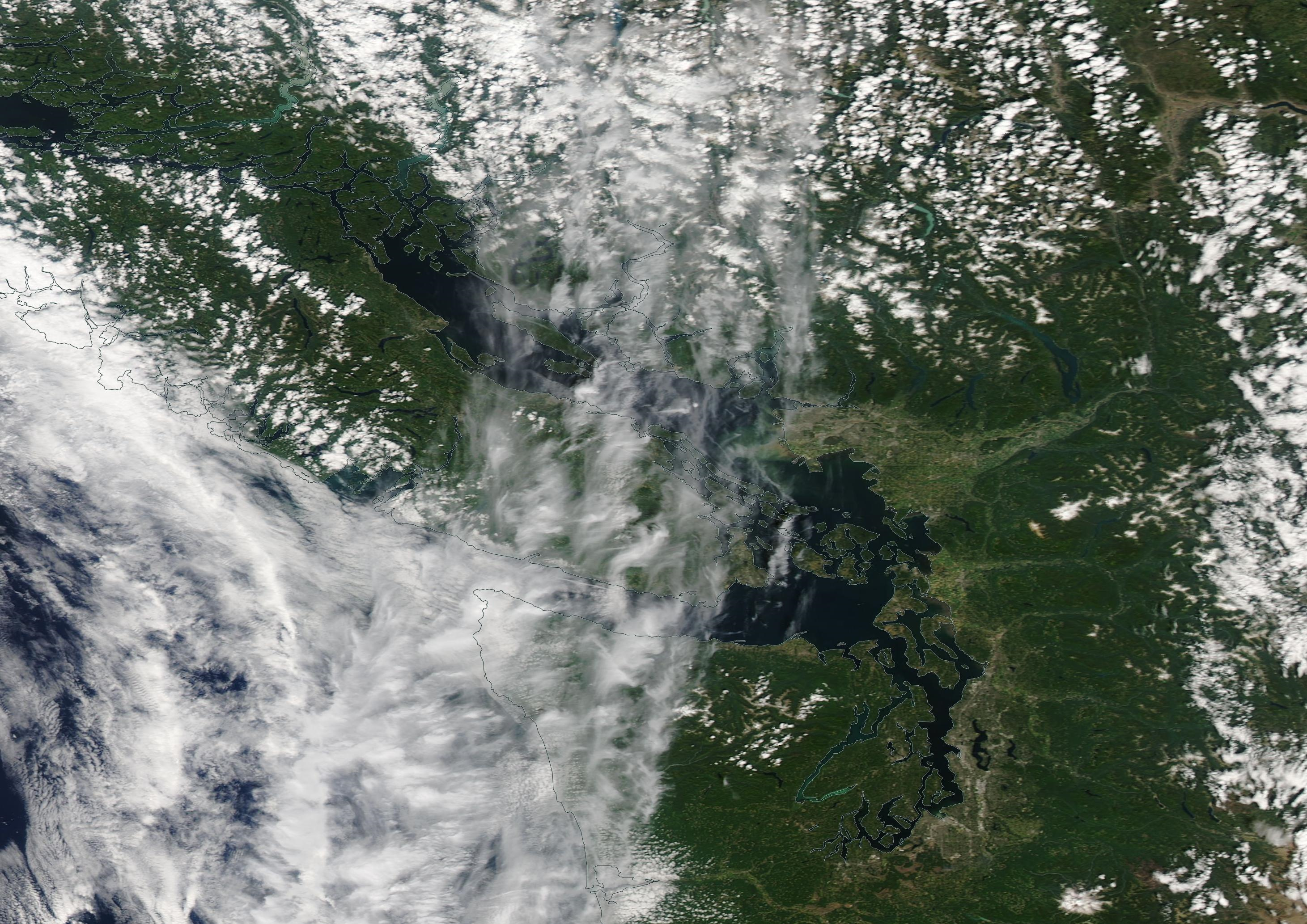 Vancouver Island chemtrail geoengineering Monday 22 July 2019 using Aqua / Modis base layer