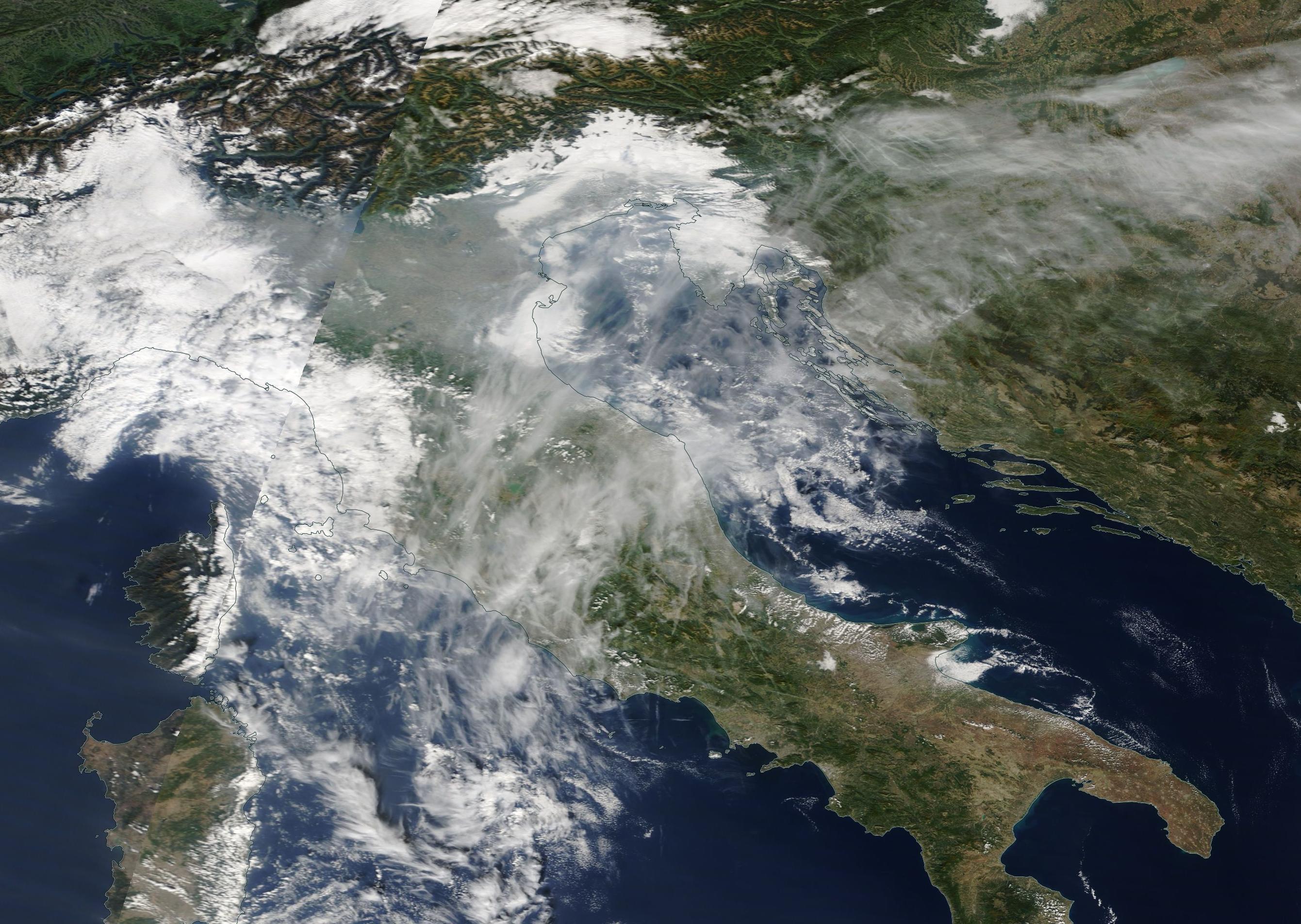 Rome, San Marino, Trieste, the Adriatic, chemtrail geoengineering 14th October 2019https://go.nasa.gov/2Bd939V