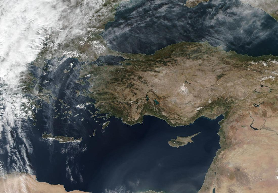 Crete to Crimea chemtrail quarter arc radial spokes of chemtrail as per day previous; link = https://go.nasa.gov/2K2UhqW
