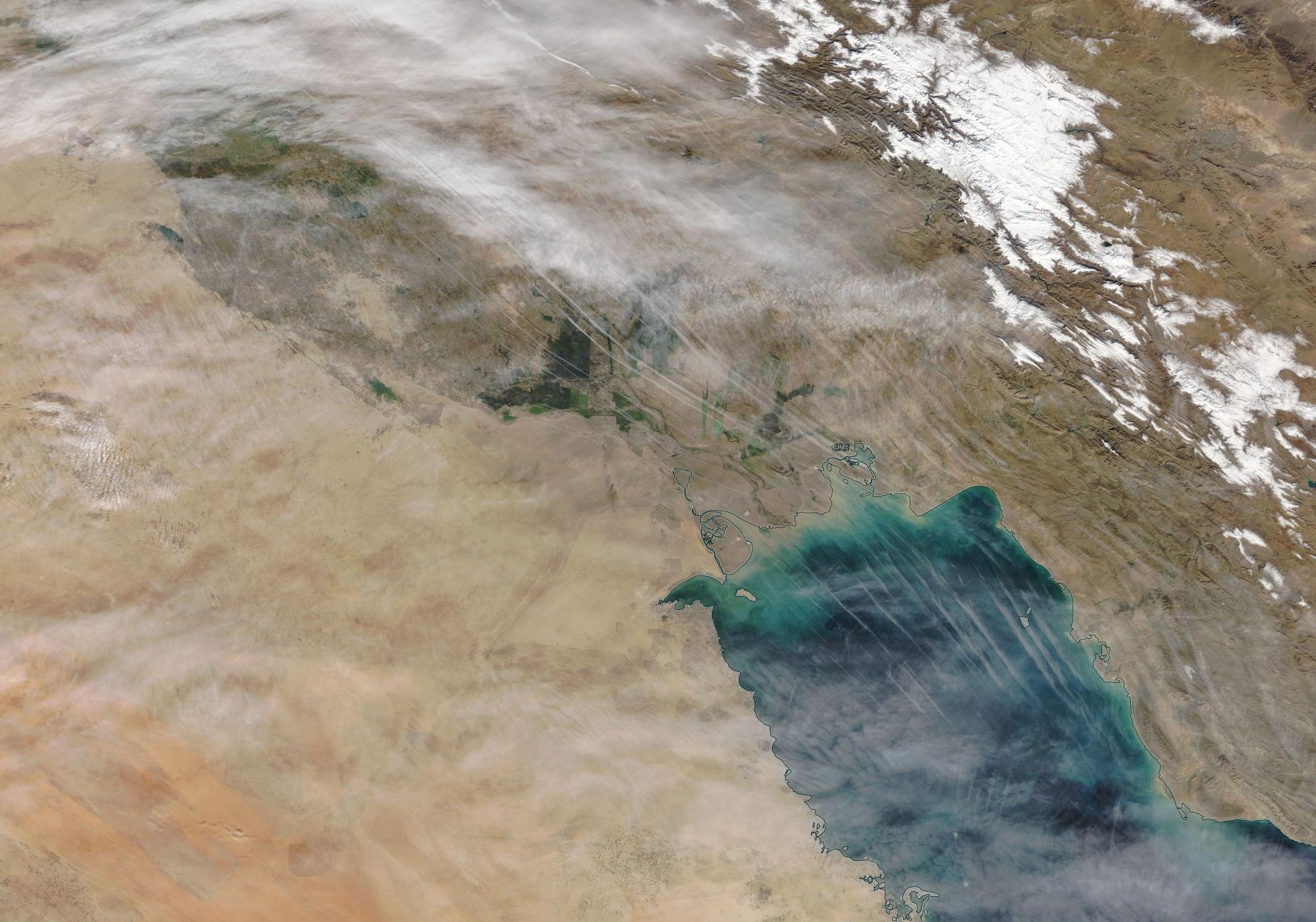 Baghdad, Basra, Kuwait chemtrail geoengineering. Thursday 12th Dec 2019. https://go.nasa.gov/2LTBaR9