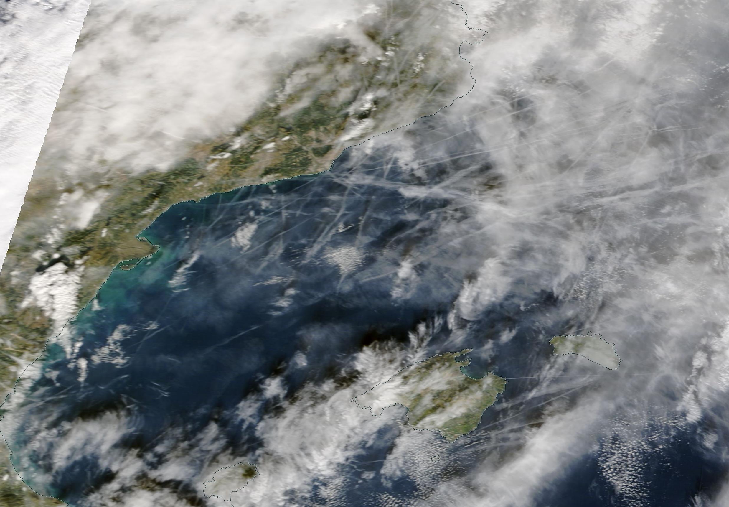 Barcelona, Ibiza, Mallorca, geoengineering chemtrails Wed 11th Dec 2019; Terra / MODIS https://go.nasa.gov/2LF3pmD