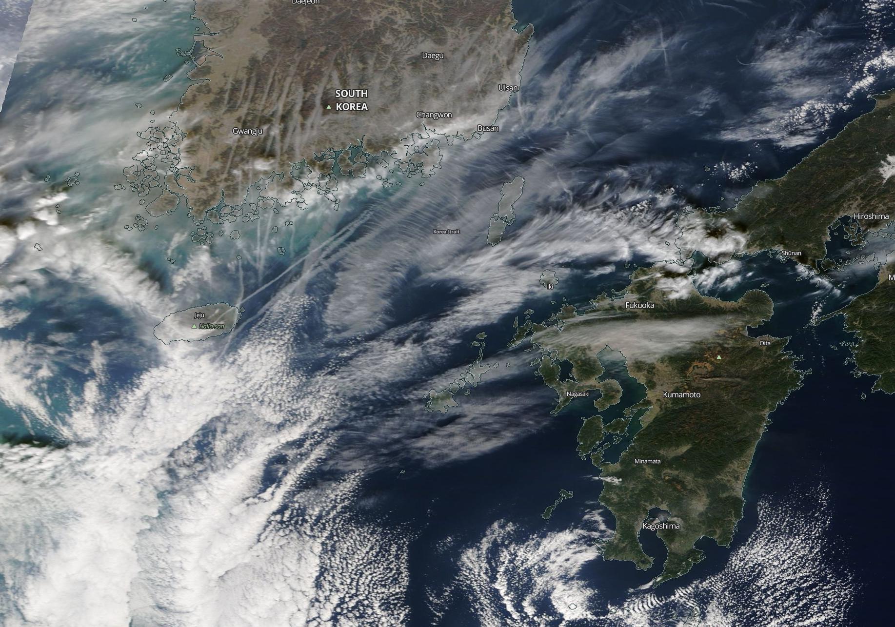 South Korea, Nagasaki, Busan, Ulsan, probable chemtrail geoengineering. Friday 13th Dec 2019. https://go.nasa.gov/2PILEEc