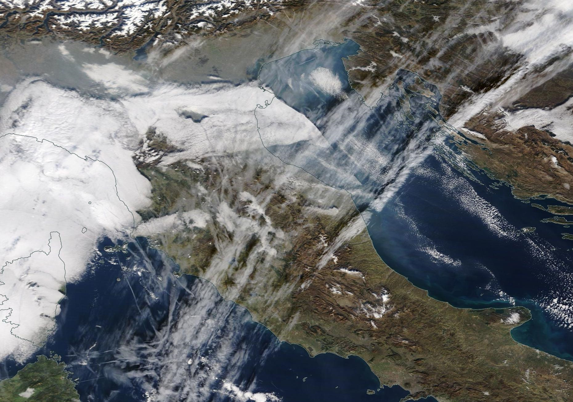 Italy northern Adriatic chemtrail geoengineering. 16 Jan 2020.   https://go.nasa.gov/2R3mlOS