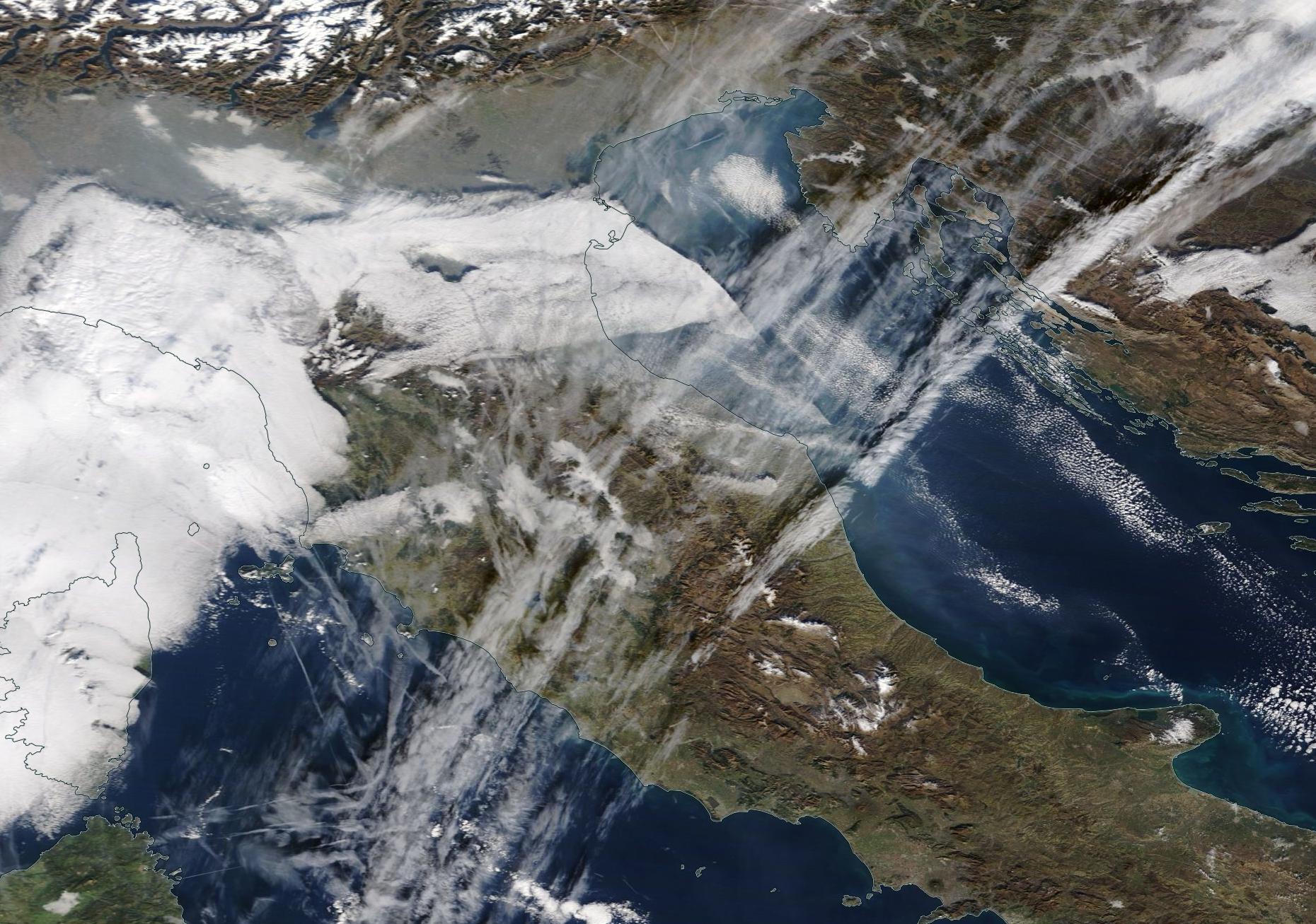 Italy northern Adriatic chemtrail geoengineering. 16 Jan 2020.   https://go.nasa.gov/2R3mlOS