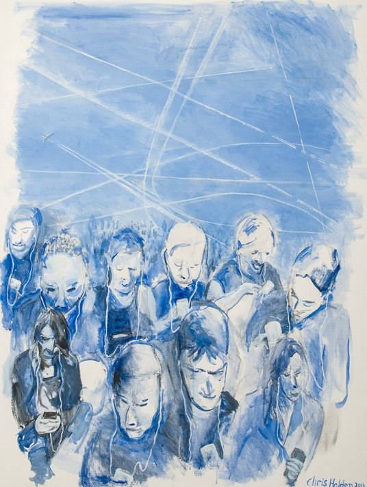 Look up, not down. Artwork by Chris Holden re chemtrail ignorance.