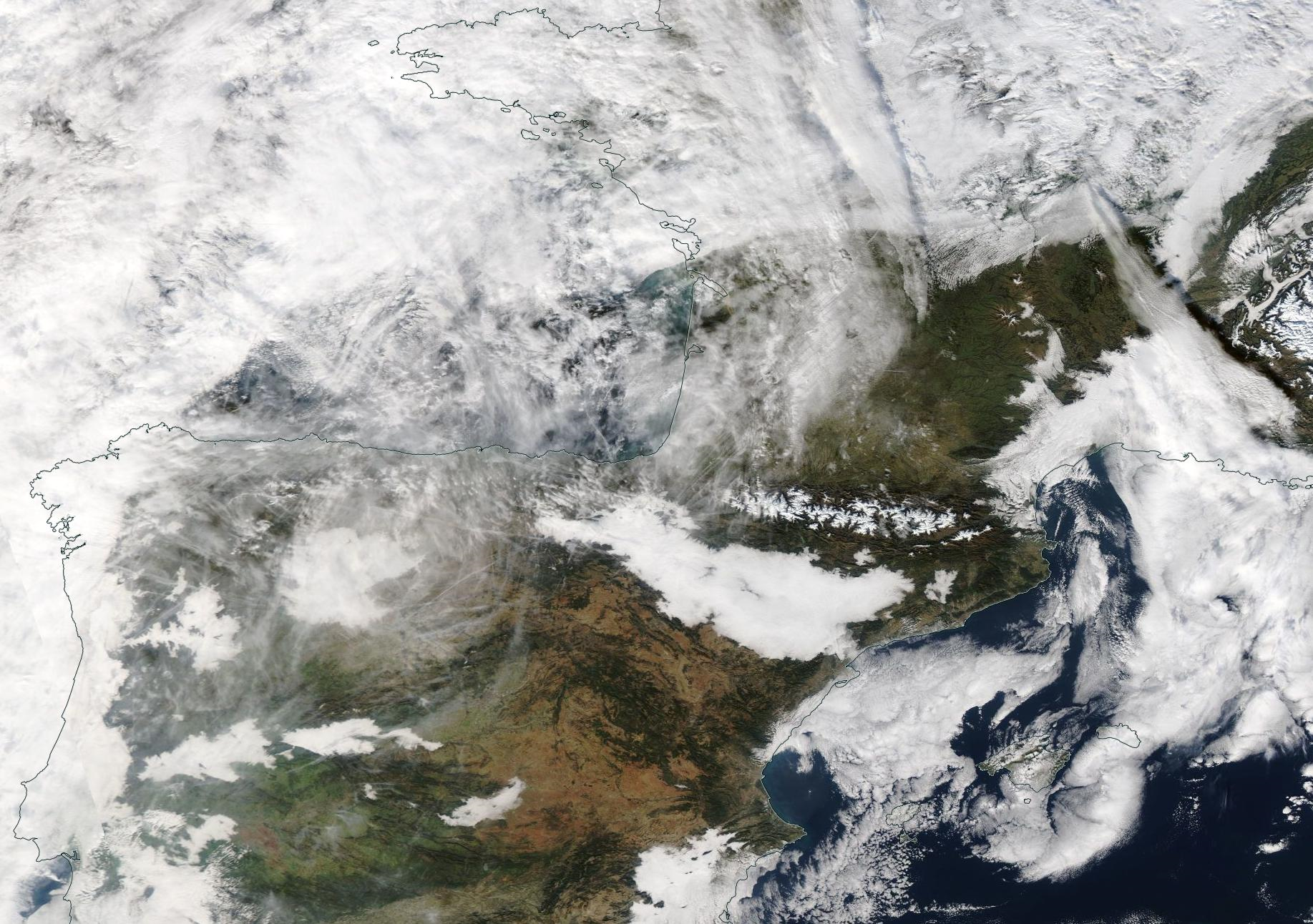 Northern Spain, Biscay, western France chemtrail, 2 Jan 2020. https://go.nasa.gov/2sGN7TY