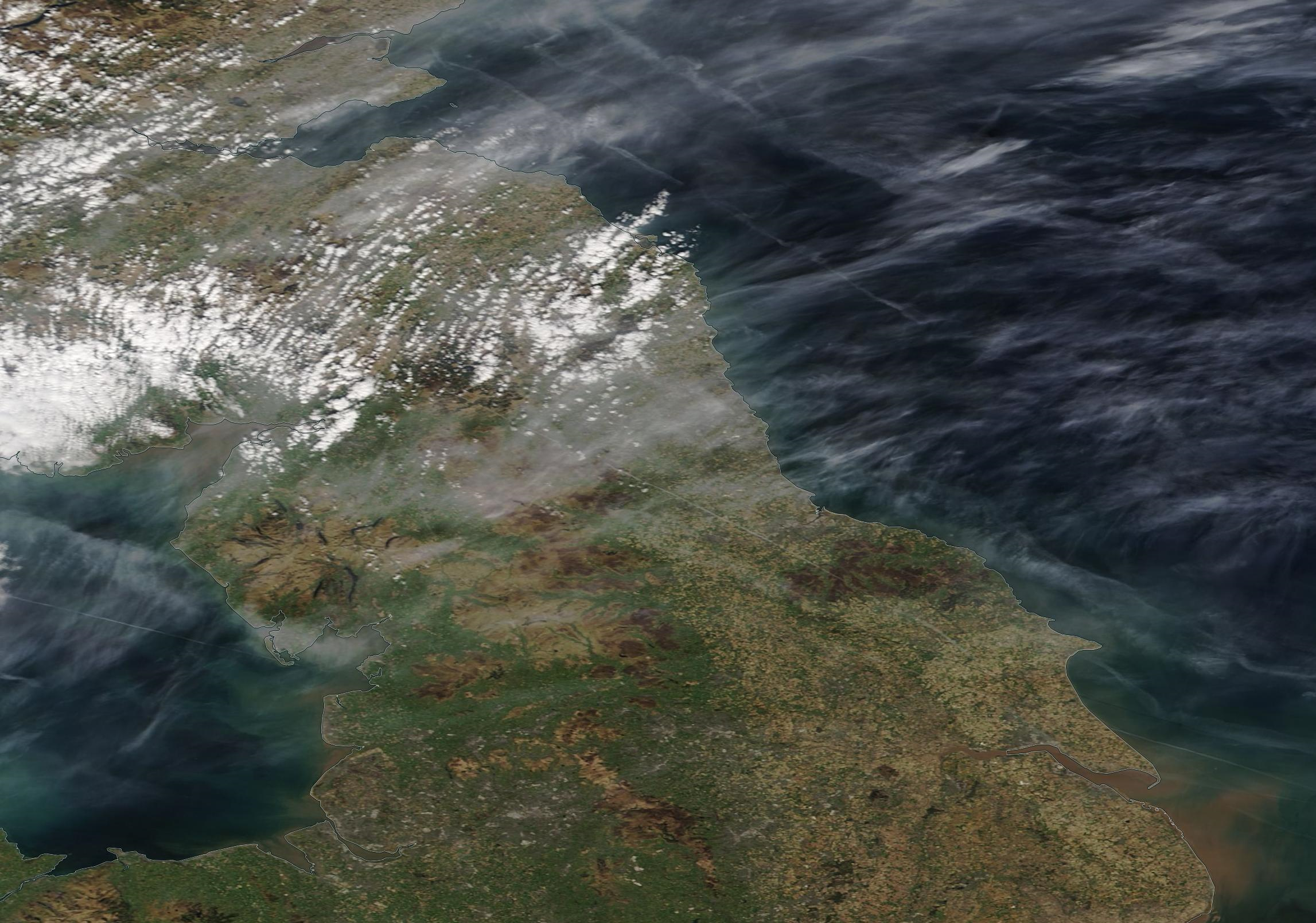 Borders and southern Scotland, northern England chemtrail skies Tuesday 7 April 2020. https://go.nasa.gov/2UQQbs0